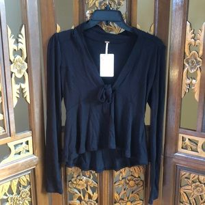 Free People Long Sleeve Tie Up Top Size XS
